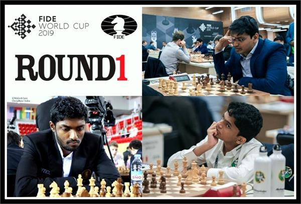 fide chess world cup 2019  harikrishna adhiban nihal starts with win