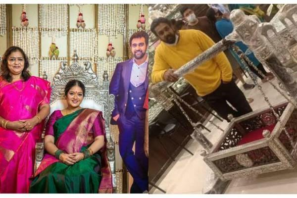 dhruv sarja bought silver palna for upcoming child of late chiranjeevi