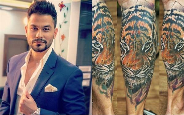 kunal khemu tiger tattoo done on his leg ready in 30 hours