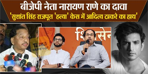 bjp leader narayan rane said aditya thackeray was involved in sushant case
