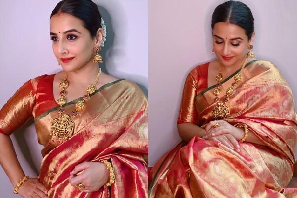 vidya balan looks beautiful in red saree