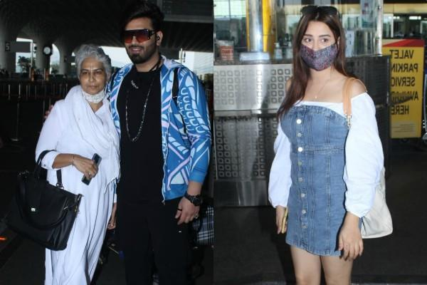 paras chhabra with mother and mahira sharma spotted at airport