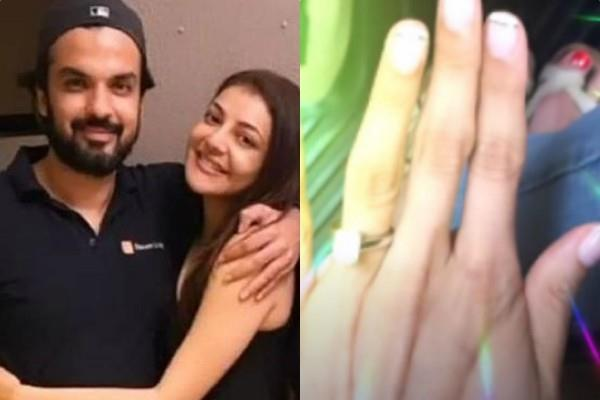 kajal aggarwal showing her engagement ring