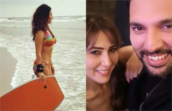 yuvraj singh funny reaction on ex girlfriend kim sharma recent beach photo