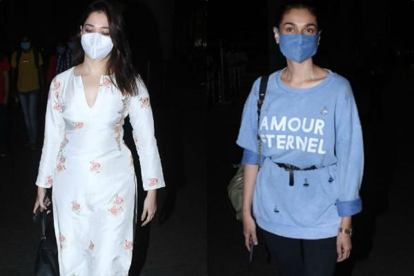 tamanna bhatia and aditi rao hydari spotted at mumbai airport