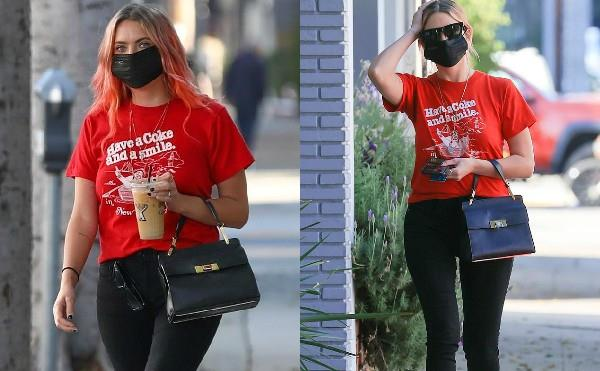 ashley benson spotted outside coffee shop in los angeles