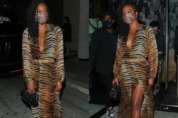 टाइगर प्रिंट ड्रेस में डिनर करने रेस्टोरेंट पहुंची Gabrielle Union, कैमरे में कैद हुईं ऐसी तस्वीरें...
