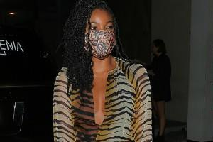 gabrielle union spotted outside the restaurant for dinner
