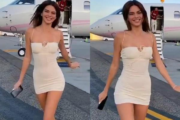 स्किनफिट मिनी ड्रेस में केंडल जेनर का बोल्ड अंदाज, प्राइवेट जेट के बाहर यूं दिए एक से बढ़कर एक पोज