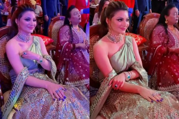 urvashi rautela wear 55 lakhs rs lehenga and jewellery in neha kakkar marriage