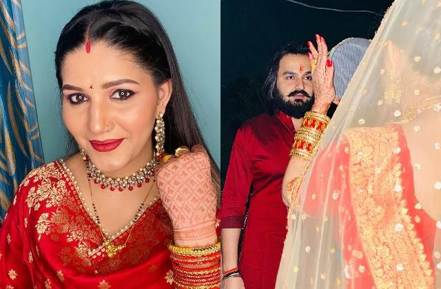 new mom sapna choudhary celebrate her first karwa chauth with hubby veer sahu