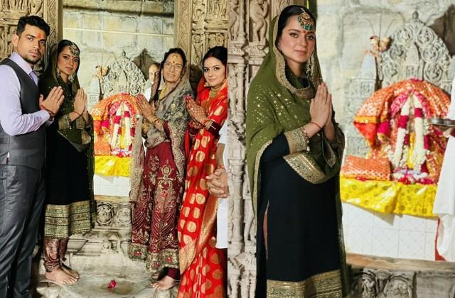 kangana and newly married couple aksht ritu seek blessing kuldevi maa