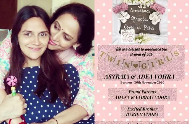 actress hema malini daughter ahana deol blessed with twins daughter