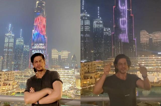 shahrukh pose burj khalifa as skyscraper lit up to mark 55th birthday superstar
