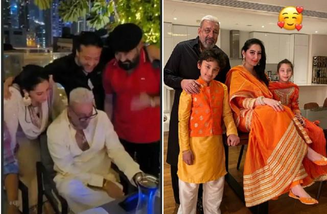 sanjay dutt celebrated diwali with family and superstar mohanlal in dubai