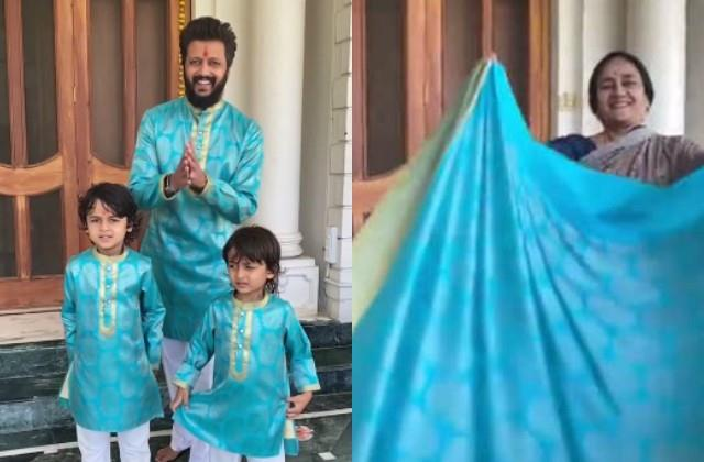 riteish deshmukh got new clothes made from mother old saree on diwali