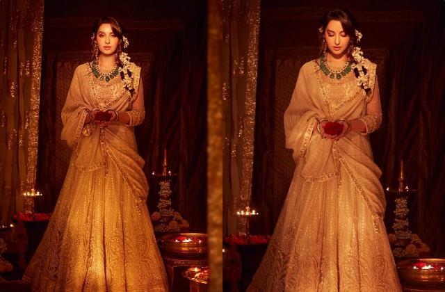 nora fatehi looks beautiful in her diwali look