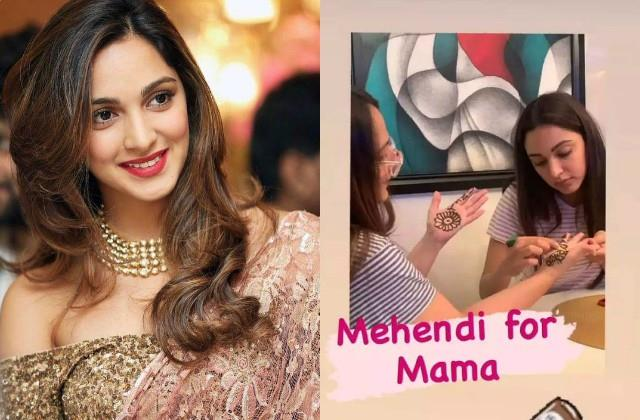 kiara advani applied mehndi her mother hands on karva chauth