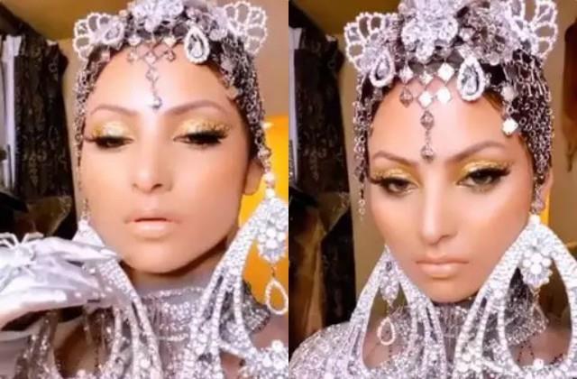 urvashi rautela carry 24 carat real gold eyeshadow on her eyes