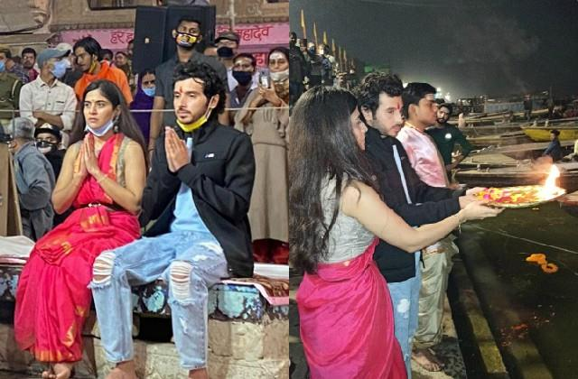 munna bhaiya aka divyendu sharma reached varanasi with co star anshul chauhan