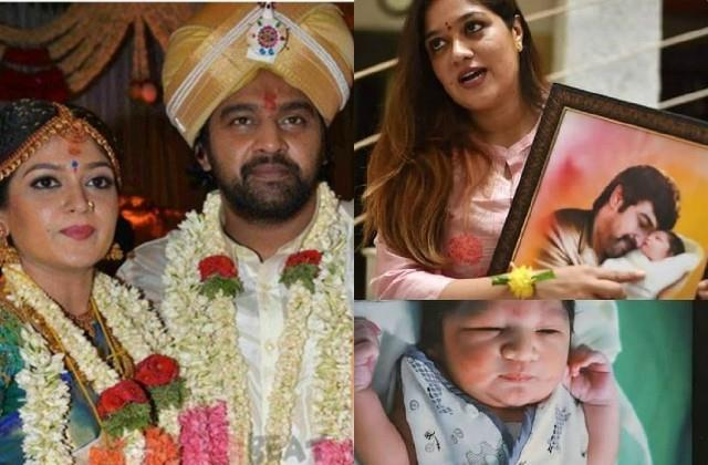 meghana raj shares painting of her son with chiranjeevi sarja