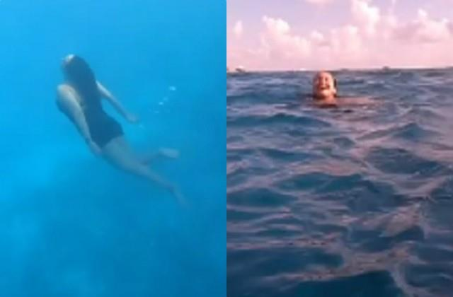 sonakshi sinha shares her swimming vedio from maldives