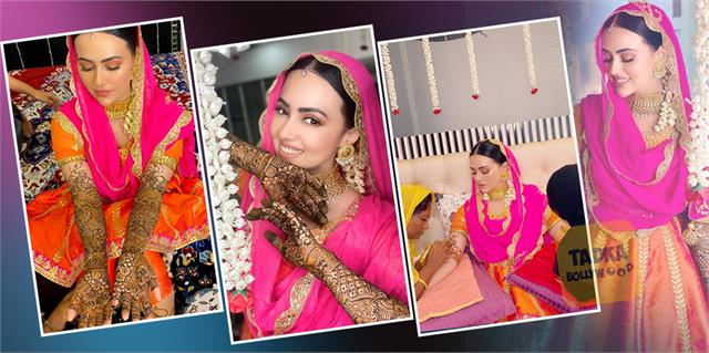 sana khan shares her mehendi ceremony pictures