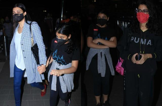 sushmita sen spotted at airport with daughter