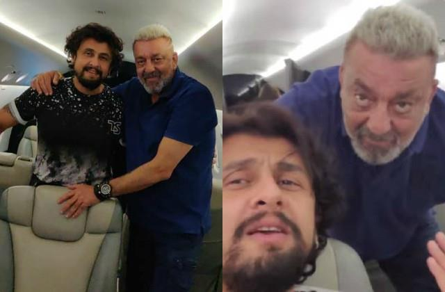 sanjay dutt spotted in new look with sonu nigam as they travelling to dubai