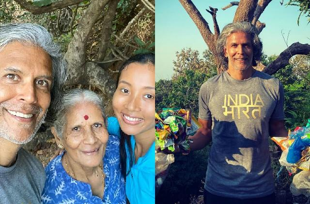 milind soman looked picking up the waste lying in the path of shiva temple
