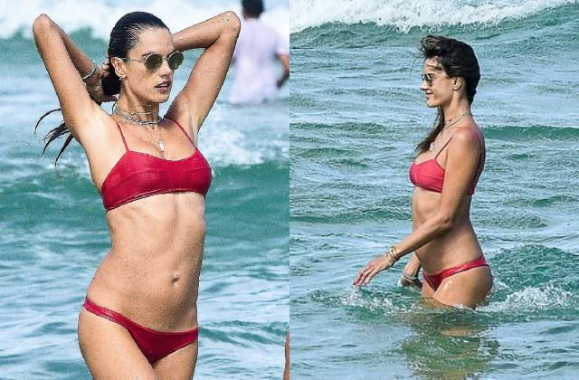 alessandra ambrosio looked hot in red bikini