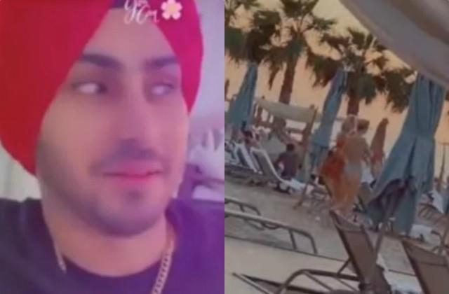 rohanpreet singh hides his face behind food menu on seeing bikini clad women