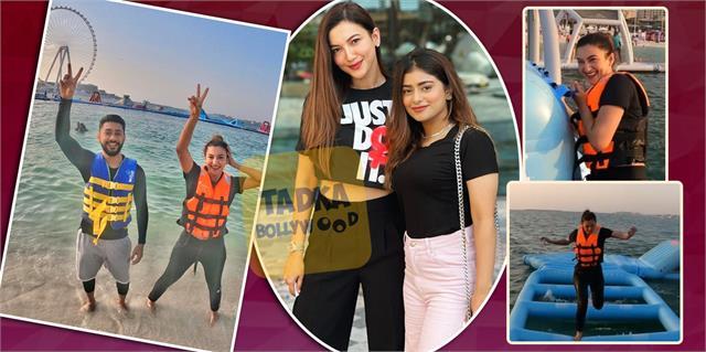 gauahar khan enjoying holidays in dubai with boyfriend zaid darbar