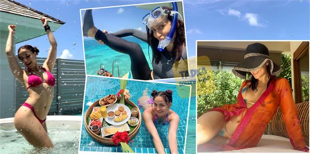 elli avrram enjoy her vacation in maldives actress pictures viral