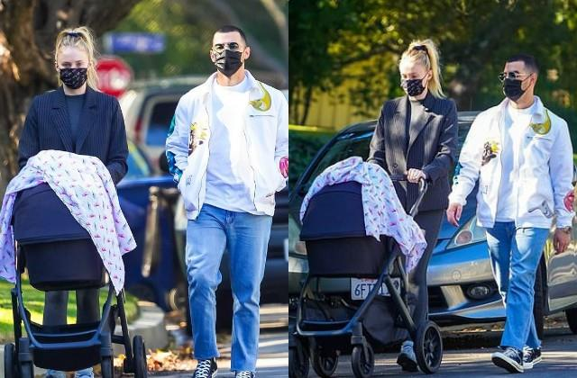 sophie turner spotted with 3 month baby daughter willa and husband joe jonas