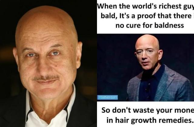 anupam kher shares post for the baldies