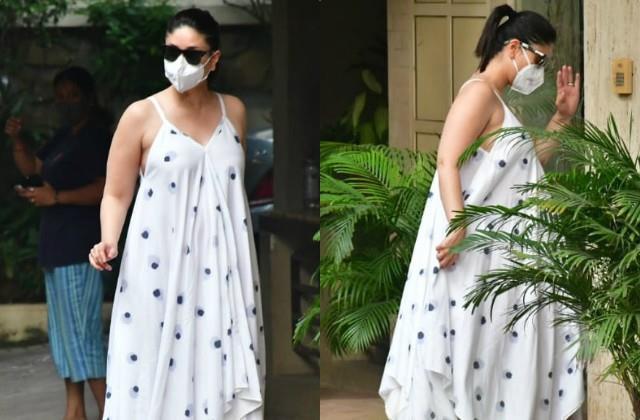 kareena kapoor khan flaunts her baby bump in white maxi dress