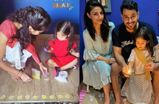 inaaya naumi kemmu make rangoli at home mom soha share pictures