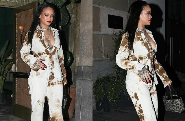 rihanna looks stylish as she spotted outside the hotel in los angeles