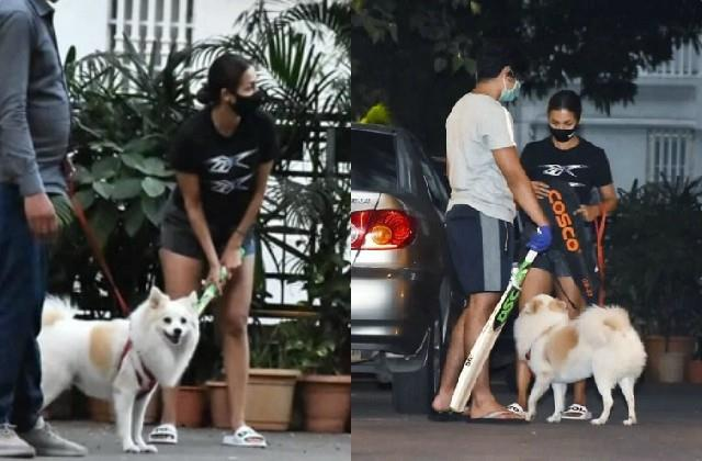 malaika arora plays cricket with son arhaan