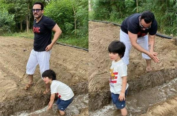 taimur ali khan enjoy farm life in pataudi with daddy saif ali khan