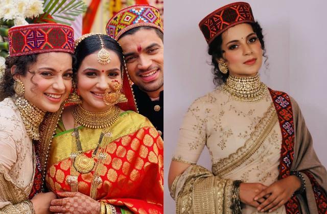 kangana looked in pahadi attire at brother wedding reception