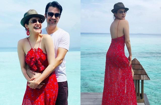kajal aggarwal gautam kitchlu enjoying honeymoon in maldives
