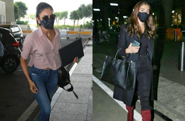 pooja hegde and rakul preet singh spotted at airport