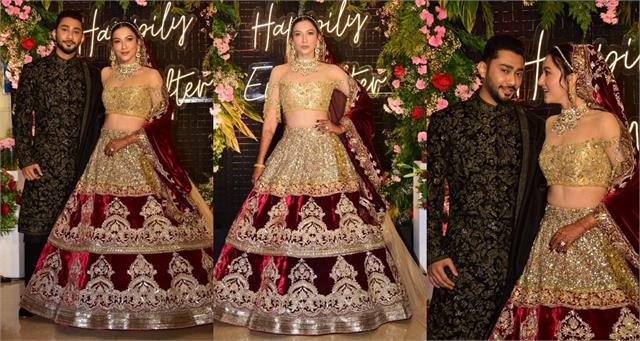newlyweds gauahar khan zaid darbar grand entry at reception party