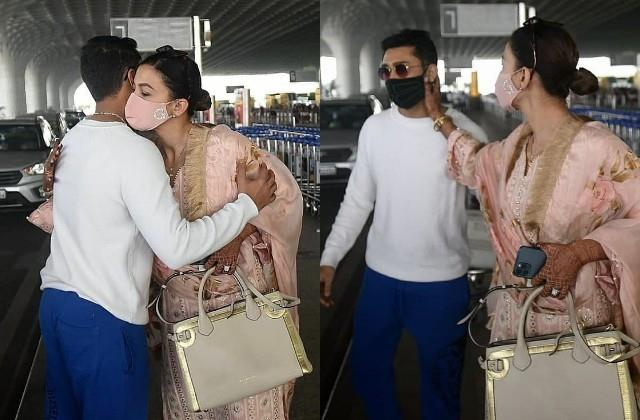 new bride gauahar khan off to lucknow as hubby zaid darbar comes to see her off