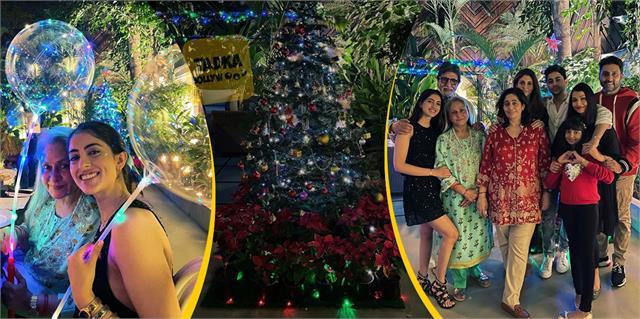 amitabh bachchan christmas celebration with navya nanda aaradhya