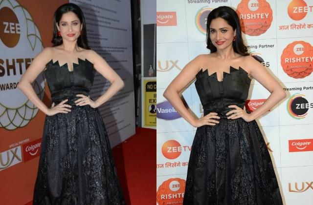 ankita lokhande looks stunning in black gown as she attend zee rishtey awards