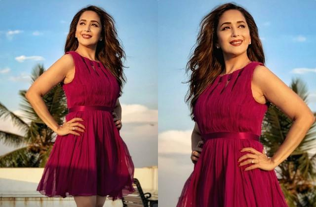 madhuri dixit stuns in short dress fans says still better than sara alia