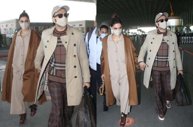 deepika padukone ranveer singh twin as they spotted at airport
